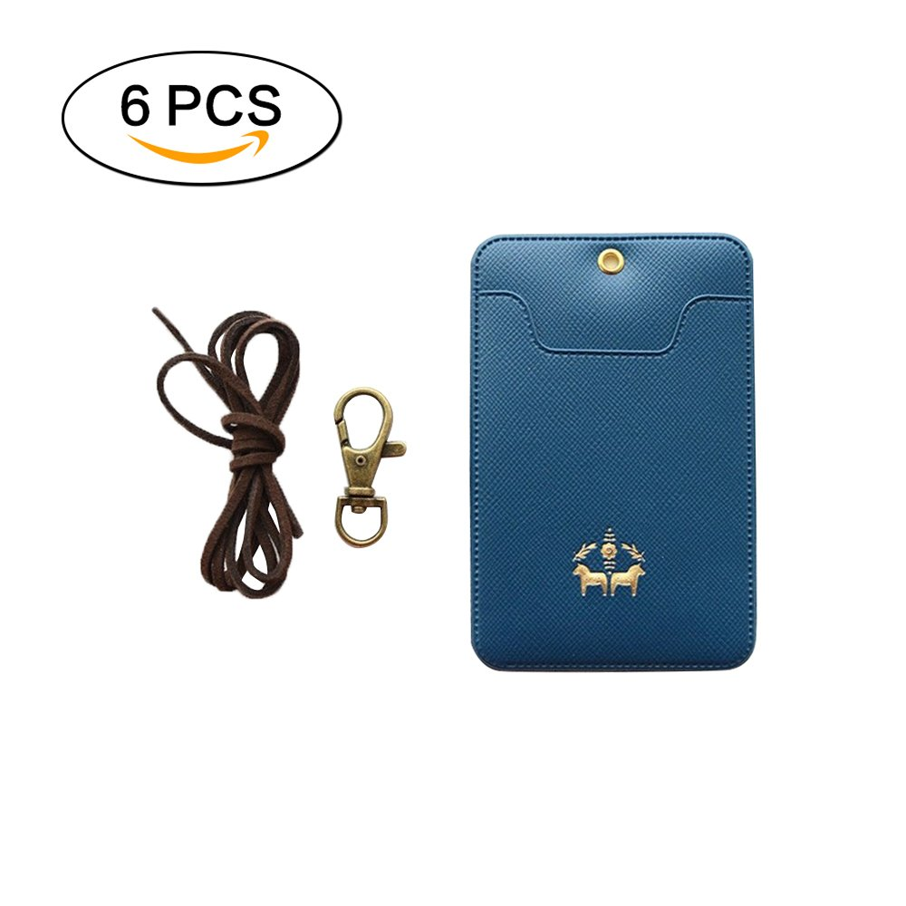 Jia Hu 6Pcs Leather Badge Holder ID Card Holder with Id Card Clip for School Office Blue