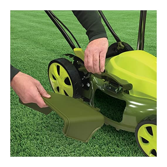 Sun Joe MJ408E 20-Inch 12-Amp Electric Lawn Mower + Mulcher, w/Side Discharge Chute 5 Maintenance free - No gas, oil or tune-ups Detachable grass catcher for easy disposal; Grass collection bag capacity: 14. 5 gal Best use: small to mid-sized lawns