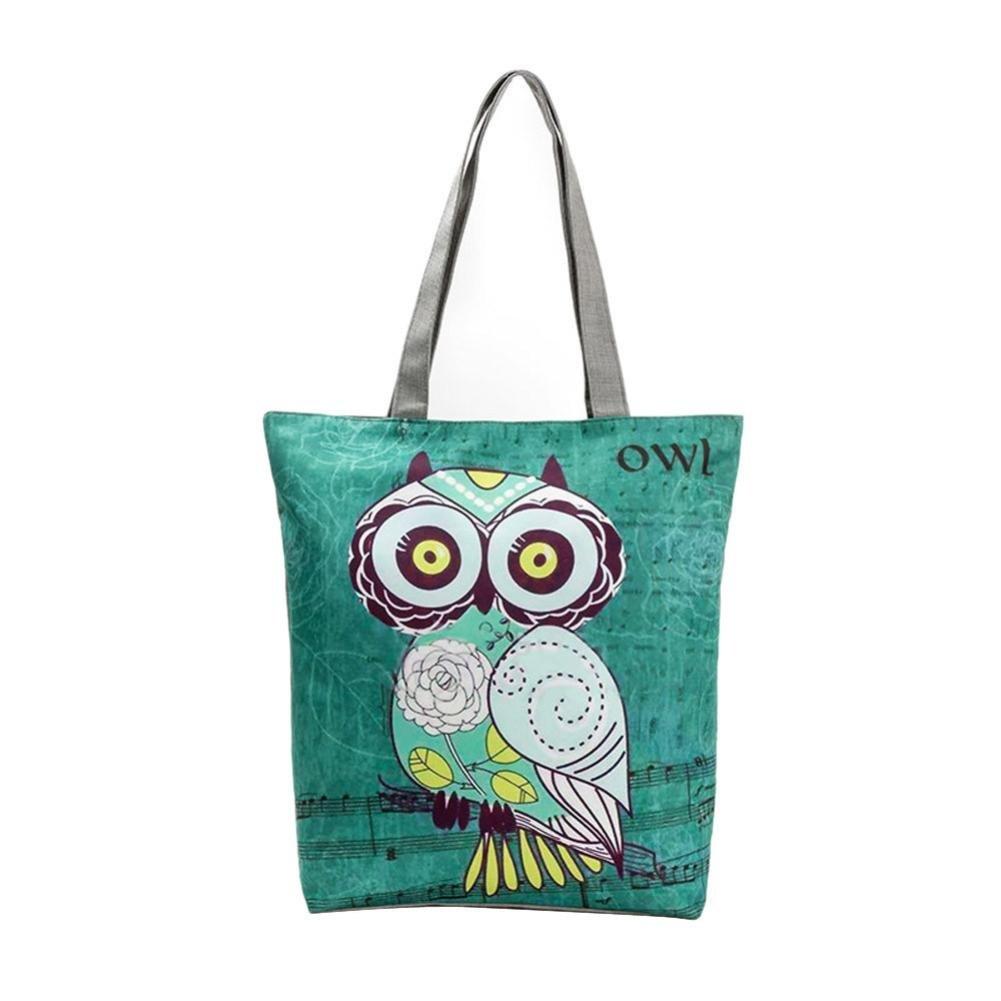 ESAILQ Owl Imprimé Canvas Tote Casual Sacs de plage Femmes Sac à provisions Sacs à main
