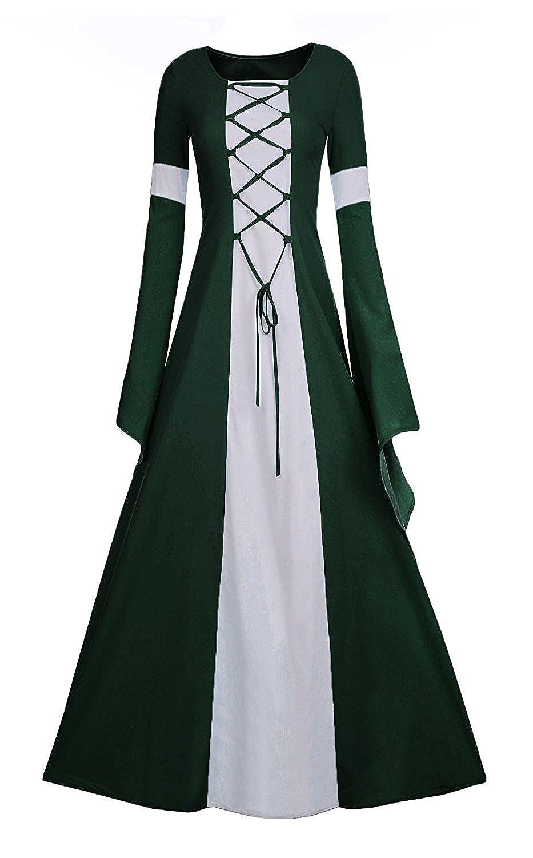 Amazon.com: Meilidress Women Medieval Dress Lace up Vintage Floor ...