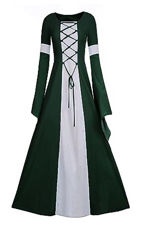 61ab2f5e83e Amazon.com  Meilidress Women Medieval Dress Lace Up Vintage Floor Length  Cosplay Retro Long Dress  Clothing