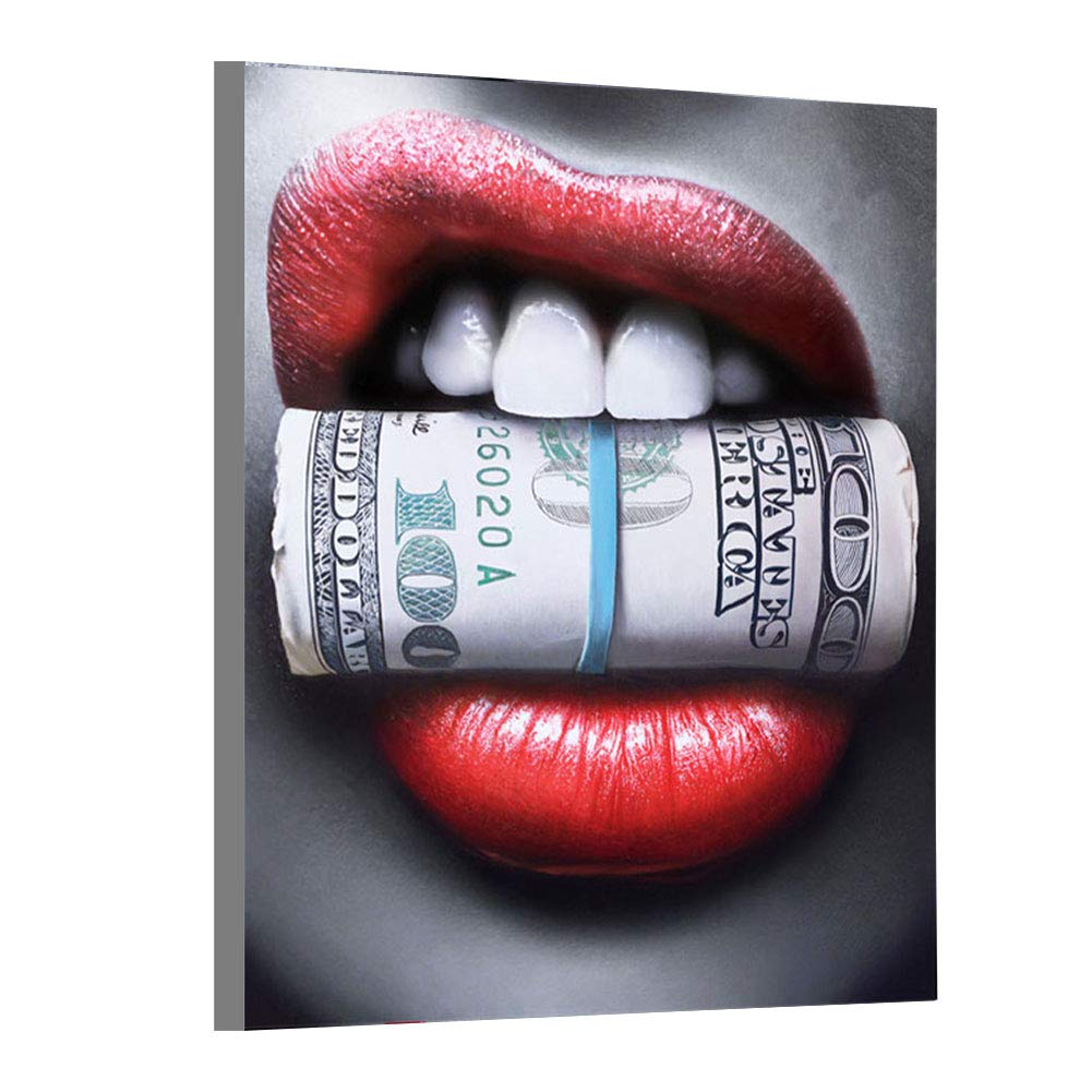 6ce16cb7017 Faicai Art Sexy Red Lips with Money Dollars Canvas Art Prints Home Decor  Paintings Printed Oil Paintings On Canvas Wall Art for Living Room Office  Bar ...