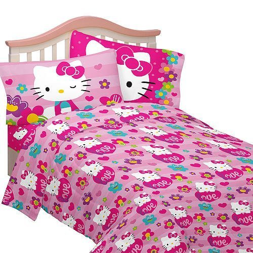 Hello Kitty Travel USA by Sanrio Twin Sheets set Cotton Rich Brand New in pkg