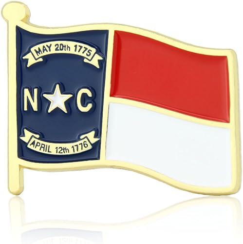 "PinMart/'s North Carolina US State Flag NC Enamel Lapel Pin 1/"""