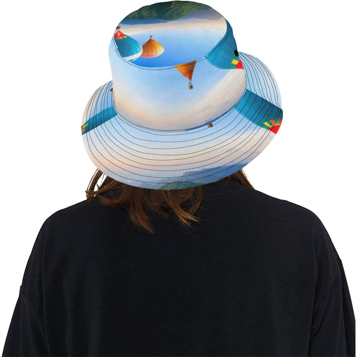 Teens Colorful Sky Hot Air Ballon New Summer Unisex Cotton Fashion Fishing Sun Bucket Hats for Kid Women and Men with Customize Top Packable Fisherman Cap for Outdoor Travel