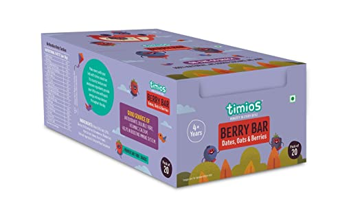 Timios Berry Bars   Healthy Energy Bar Snack   Pack of 20