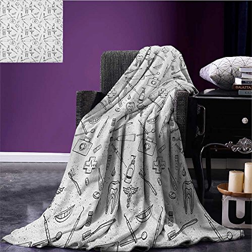 Doodle waterproof blanket Hand Drawn Style Medical Pattern with Dental Hygiene Theme Teeth Care Cleaning plush blanket Black and White size:50''x60'' by Anniutwo