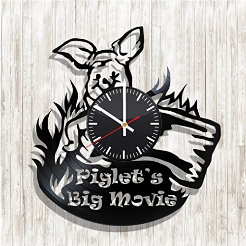 Design wall clock Piglet's Big Movie made from real vinyl record, Piglet's Big Movie decal, Piglet's Big Movie wall poster, design art wall decor