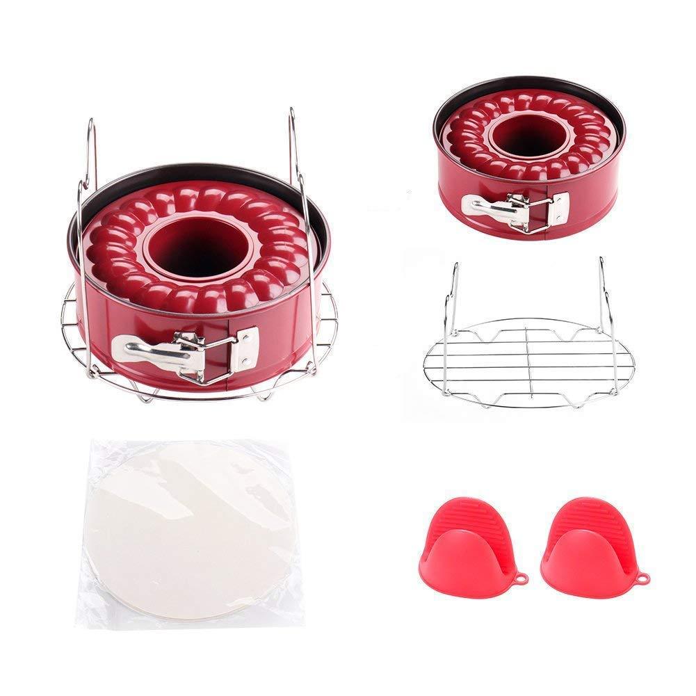 Instant Pot Accessories Set with 7 Inch Non-Stick Springform Pan, Steamer Trivet, 1 Pair Silicone Mitt, 50 pcs Parchment Paper Fit for Instant Pot 5 6 8 qt Pressure Cooker JOYORUN XF07M30-XP12DG0-RED