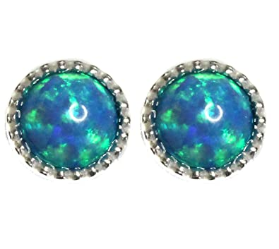 Black Moon Large 8mm Blue Opal and Sterling Silver Stud Earrings by Black Moon - Exquisite Bright Blue with Green Fire - Large Size DNgR99