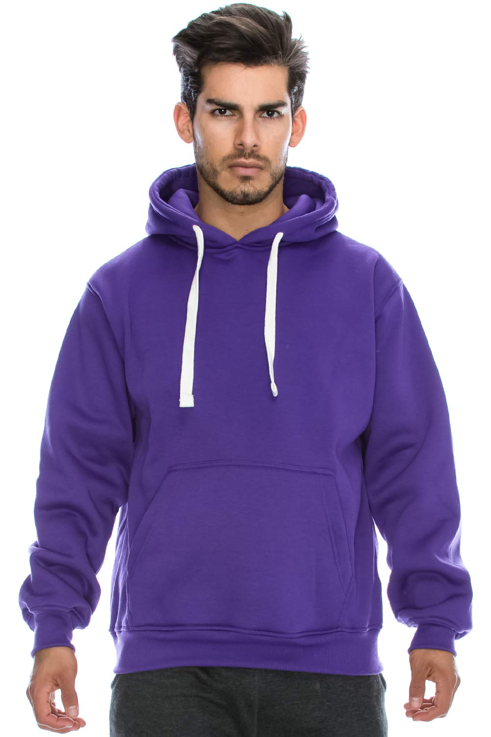 JC DISTRO Plus Size Hipster Hip Hop Basic Heavyweight Pullover Purple Hoodie Jacket 5XL