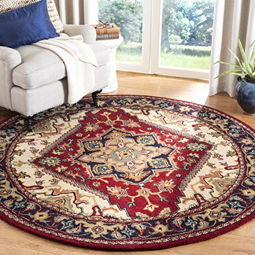 Safavieh Heritage Collection HG625A Handcrafted Traditional Oriental Heriz Medallion Red Wool Round Area Rug (8' Diameter) 8' Round Wool Rug