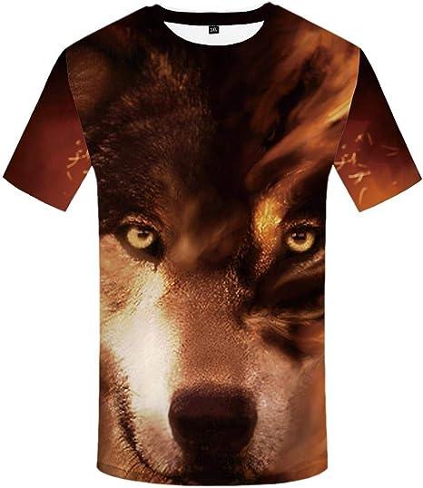 Luotears Camisa 3DT Un Lobo Atado por una luz extraña, un Lobo Solitario rugiendo en una montaña Nevada, un Perro con un corazón de niña, Mangas Cortas: Amazon.es: Ropa y accesorios
