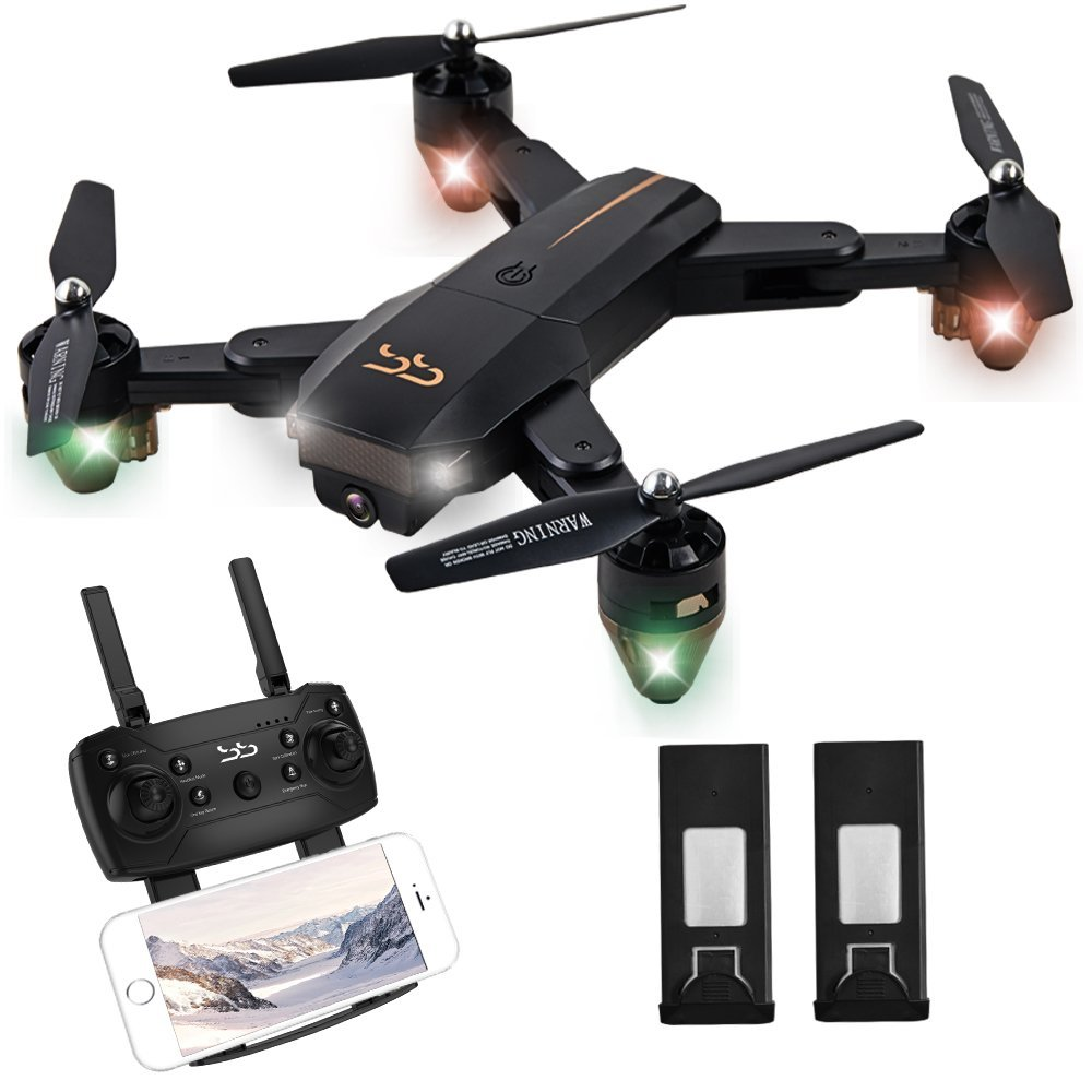 ScharkSpark Drone Thunder with Camera Live Video, RC Quadcopter with 2 Batteries, Easy to Operate for Beginners, Foldable Arms, 2.4G 6-Axis, Headless Mode, Altitude Hold, One Key Take Off and Landing
