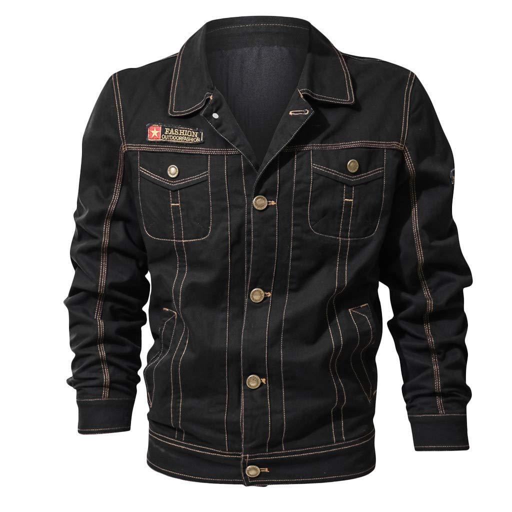 Fitfulvan Men's Retro Lapel Jacket Pocket Windbreaker Button Long Sleeve Coat Loose Casual Outwear Black