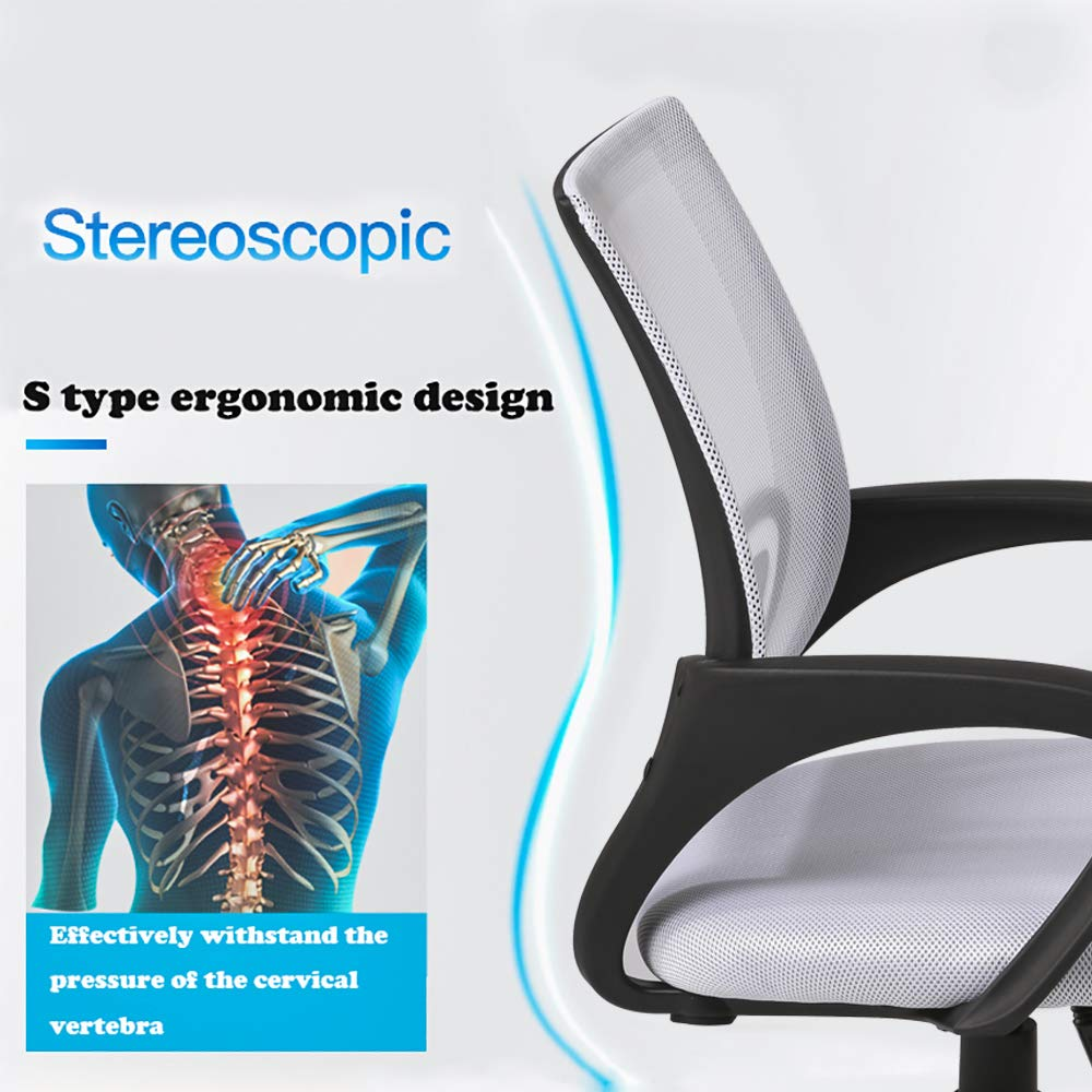 Ergonomic Office Chair Cheap Desk Chair Mesh Computer Chair Back Support Modern Executive Adjustable Rolling Swivel Chair for Women, Men(White) by BestOffice (Image #2)