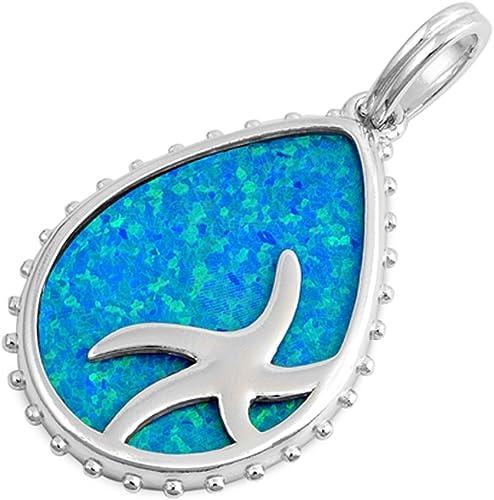 Oxford Diamond Co Blue Opal Pear Shape .925 Sterling Silver Pendant