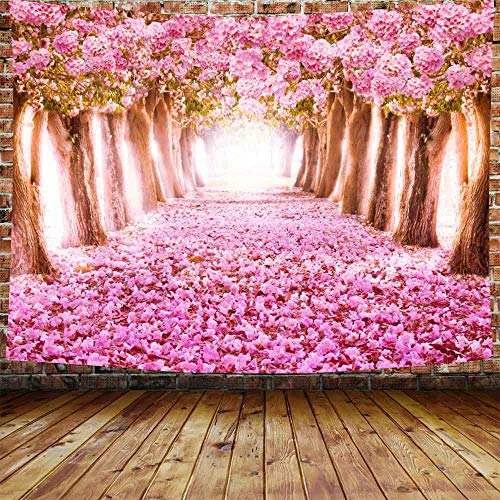 Floral Decor Tapestry Wall Hanging Pink Cherry Blossom Trees Forest Sea of Flowers Wall Tapestry Home Decoration Wall Decor Art Tapestries for Bedroom Living Room Dorm Decor 80X60 Inches DBLS165 DBLLF