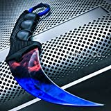 CSGO Karambit Hawkbill Talon Soul Full Tang Fixed Blade Neck Knife w/ABS Sheath (Limited Edition) (Marble Fire Ice)