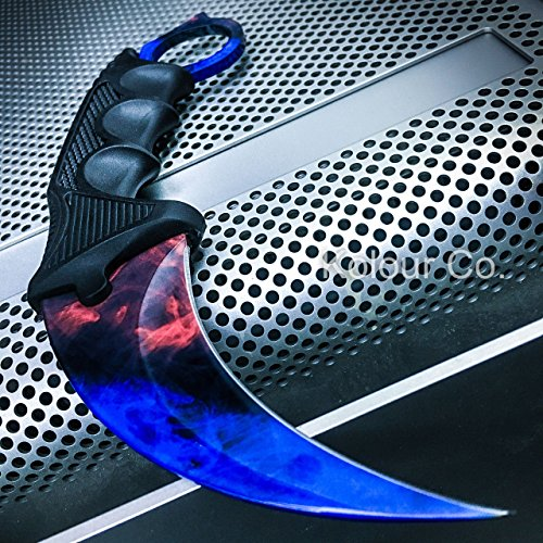 Ltd Ice - CSGO Karambit Hawkbill Talon Soul Full Tang Fixed Blade Neck Knife w/ABS Sheath (Limited Edition) (Marble Fire Ice)