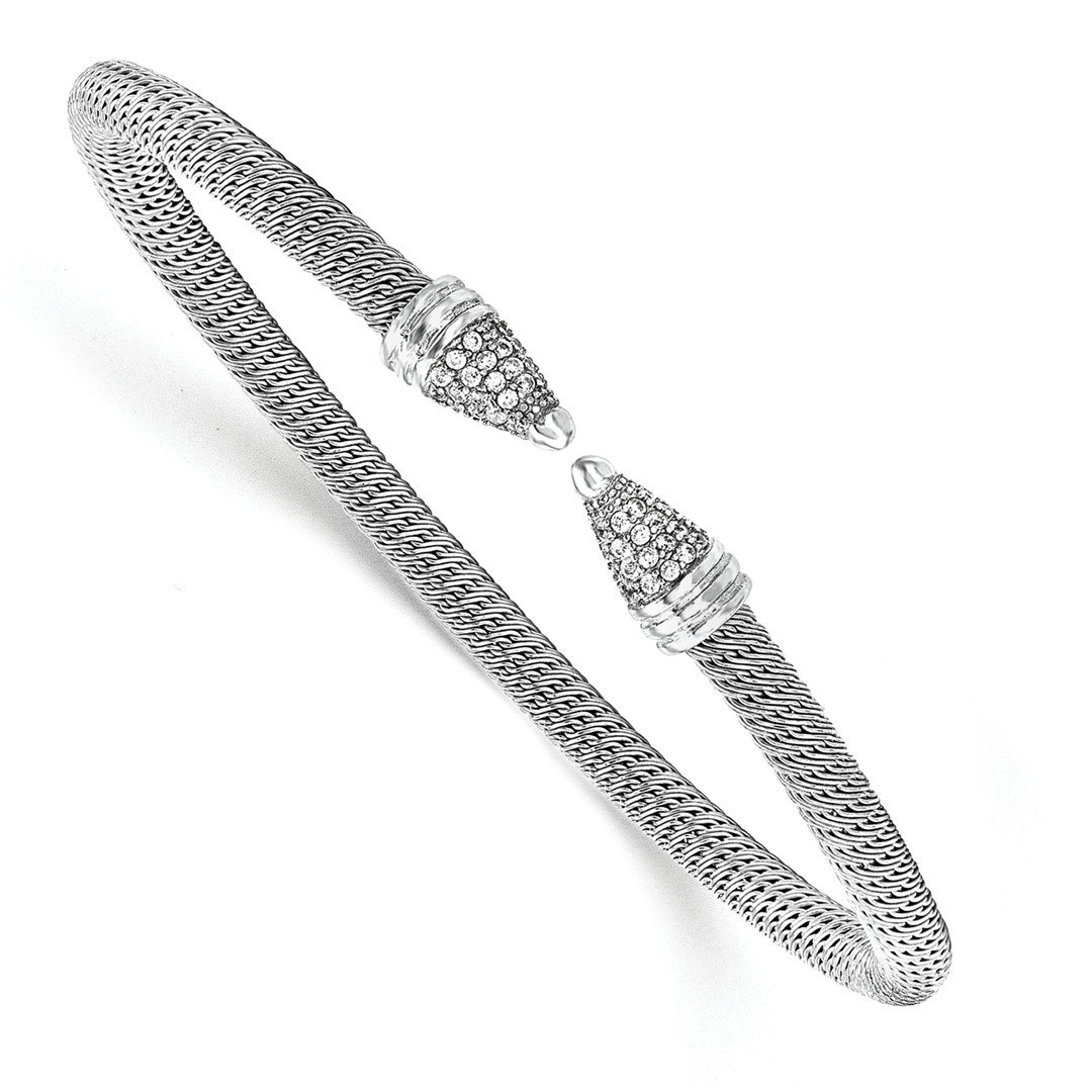 ICE CARATS 925 Sterling Silver Cubic Zirconia Cz Bangle Bracelet Cuff Expandable Stackable Fine Jewelry Gift Set For Women Heart