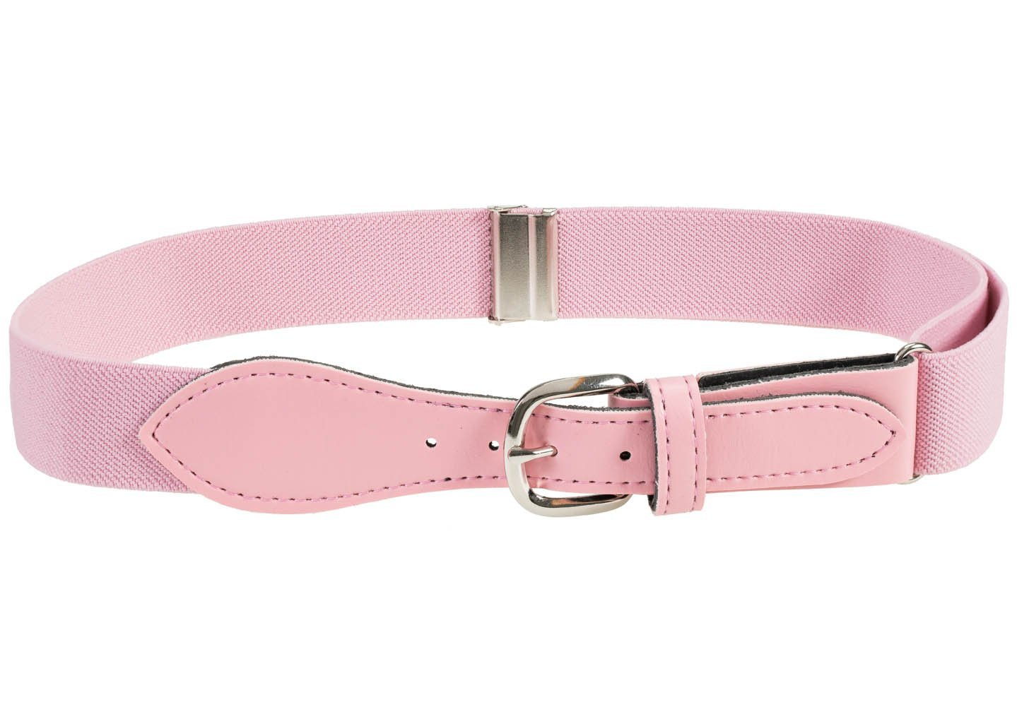 Kids Elastic Adjustable Belt with Leather Closure - Light Pink