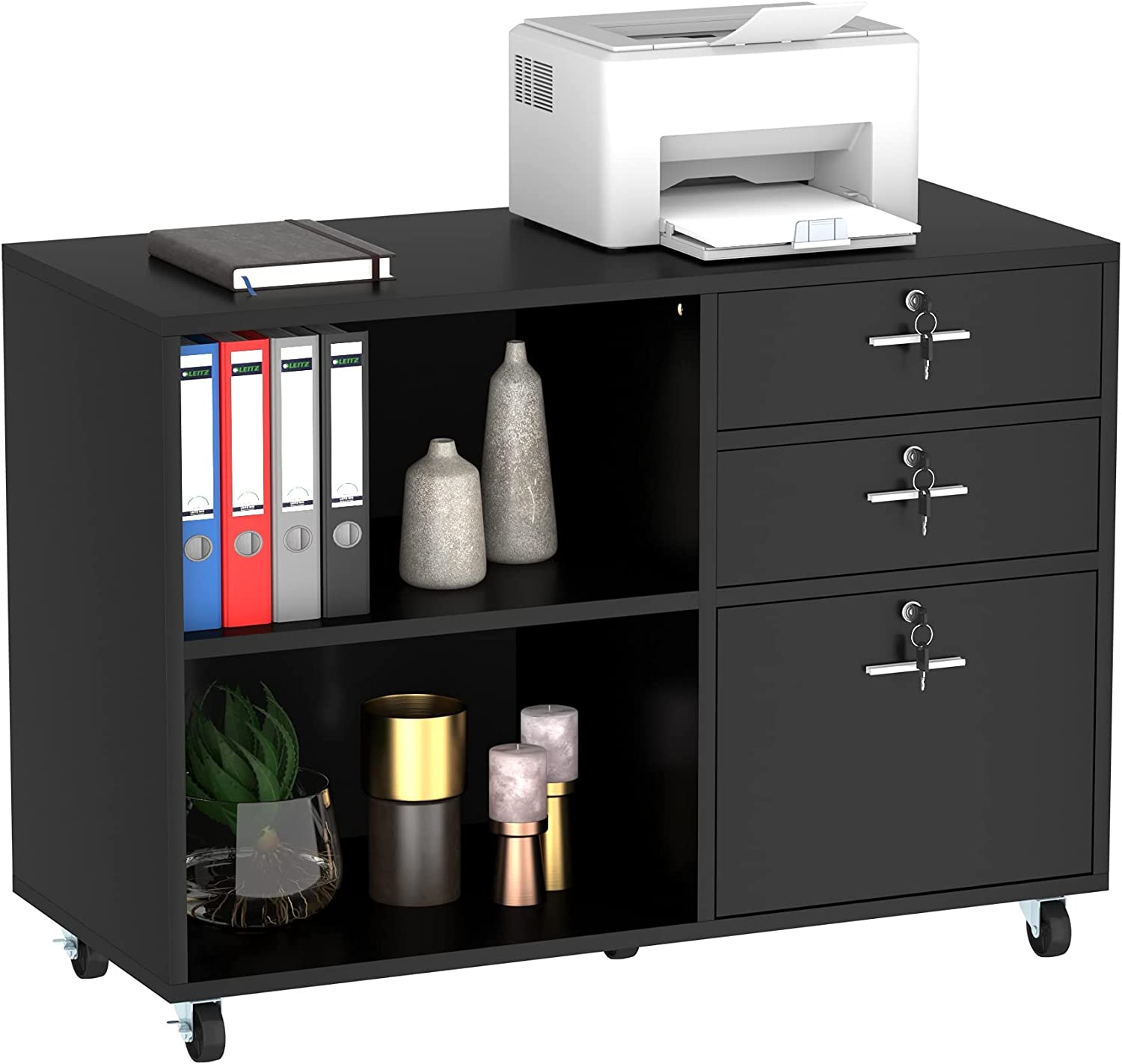 YITAHOME Wood File Cabinet, 3 Drawer Mobile Lateral Filing Cabinet, Storage Cabinet Printer Stand with 2 Open Shelves for Home Office Organization, Black