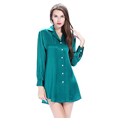 LilySilk Mulberry Silk Nightshirts for Women Long Sleeve Ladies Pure 100  Real 22 Momme Silk Nightdress 88d5ca2c5