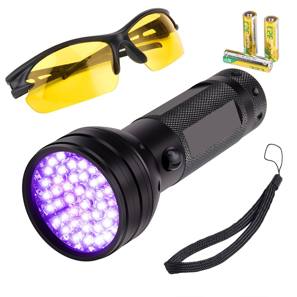 Eaaglo Black light,UV Flashlight 51 LED 395nm Ultraviolet Blacklight Detector for Dog Urine, Pet Stains,Bed Bug and Scorpions,Counterfeit Money,Free UV Sunglasses and 3 AA Alkaline Batteries Included