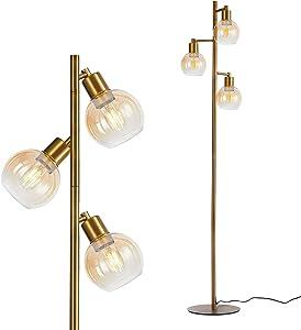DRNANLIT Modern Gold Floor Lamp for Bedroom,Tree Industrial Floor Lamps with 3 Adjustable Globe Glass Lamp Head, Mid Century Standing Light for Living Room (Gold, 3-Light)