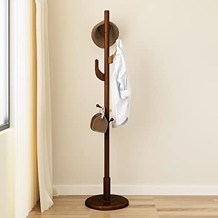 Amazon.com: DYFYMX Coat Rack Wood 6 Hook Hanger Floor ...