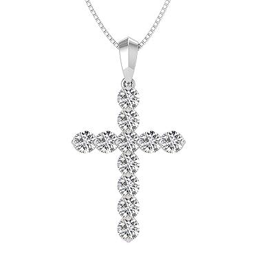 e0ab51ff36773 Amazon.com: 14k White Gold Round Cut Diamond Cross Pendant Necklace ...