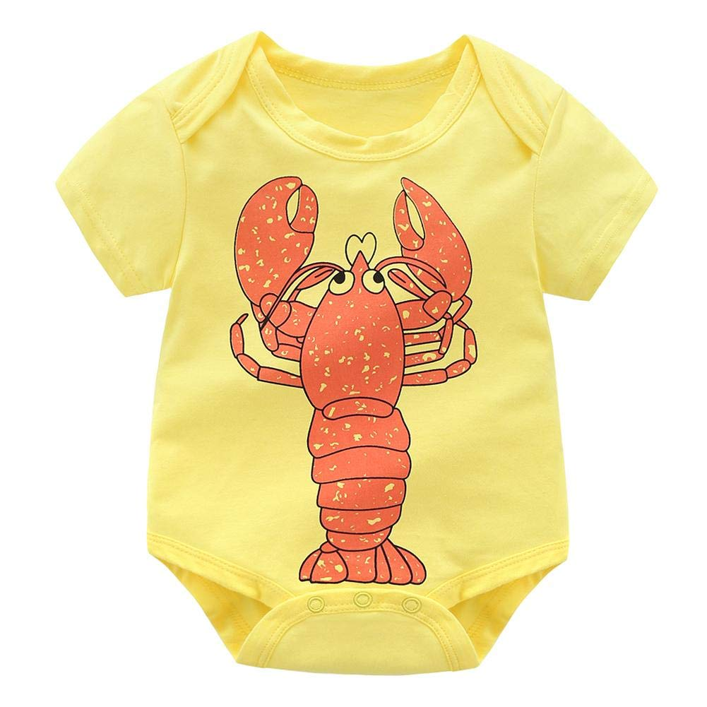 Silverone Cute Lobster Print Boys Girls Baby Short Sleeve Casual Rompers Jumpsuit Soft O-Neck Summer Clothes