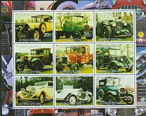 2000 Antique Cars & Trucks on Stamps - 9 Stamp Sheet - 3405