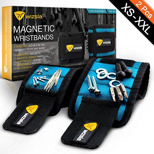 Handy Dad Tools (Wizsla Magnetic Wristbands Set of 2 Adjustable Sizes XS-M + M-XXL for Holding Screws Nails Pins Drill Bits, Unique Gift Idea for Men Women, Best Tool Gift for DIY Handyman Father Husband Boyfriend)