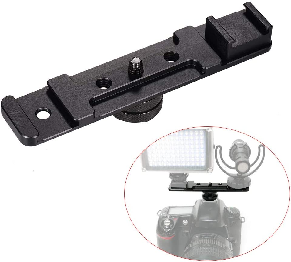 RuleaxA Aluminium Alloy Camera Dual Hot Shoe Extension Bar Mount Bracket Flash Bracket Adapter Holder 1//4 Inch Screw Mounts for Flash Speedlite LED Video Light Microphone