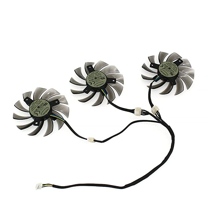 FanEngineer Generic NEW Laptop CPU Cooling Fan For Everflow T128010SU Video Card Gigabyte N456 GTX770 670 580 HD5870 Series Replacement 4-Pin Header 3Fans 75mm