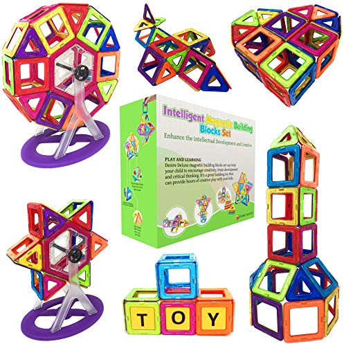- Desire Deluxe Magnetic Blocks Building Tiles STEM Toys Set (94pc ) - Children Creativity Educational Magnet Construction Present Toy for Girls Boys Age 3 4 5 6 7 Year Old Gift for Kids