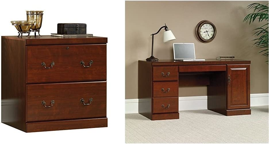 Sauder Heritage Hill Lateral File, Classic Cherry Finish + Sauder Heritage Hill Computer Credenza, Classic Cherry Finish_Bundle
