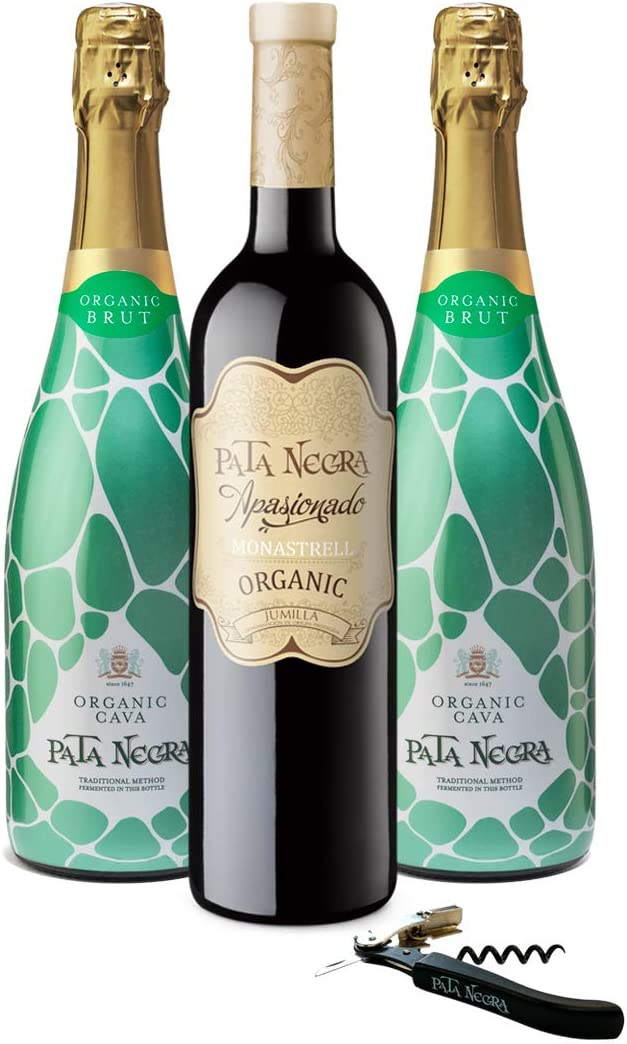 Pata Negra - Lote de 2 Botellas de Cava y 1 Botella de Vino Tinto con Sacacorchos, Pack de 3 botellas x 75 cl: Amazon.es: Alimentación y bebidas