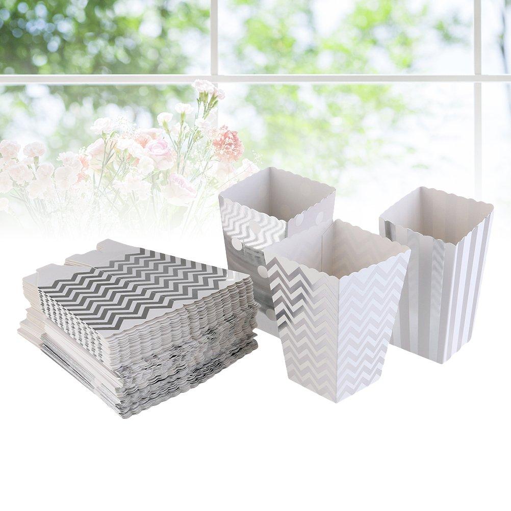 Yeahibaby 36 Pcs Argent Popcorn Boxes Sacs Carton Bonbons Conteneur pour Party Collations Bonbons et Popcorn