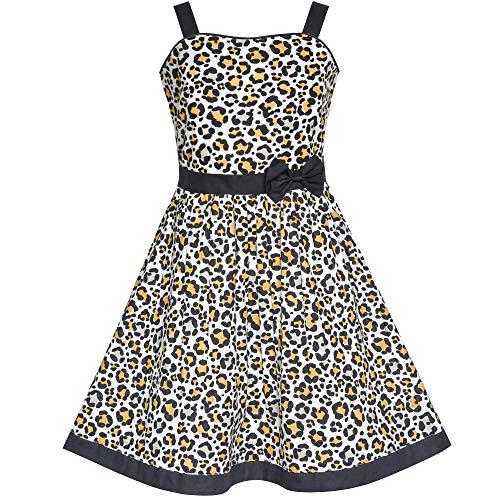 Girls Dress Leopard Print Bow Tie Summer Sundress Size 7-8