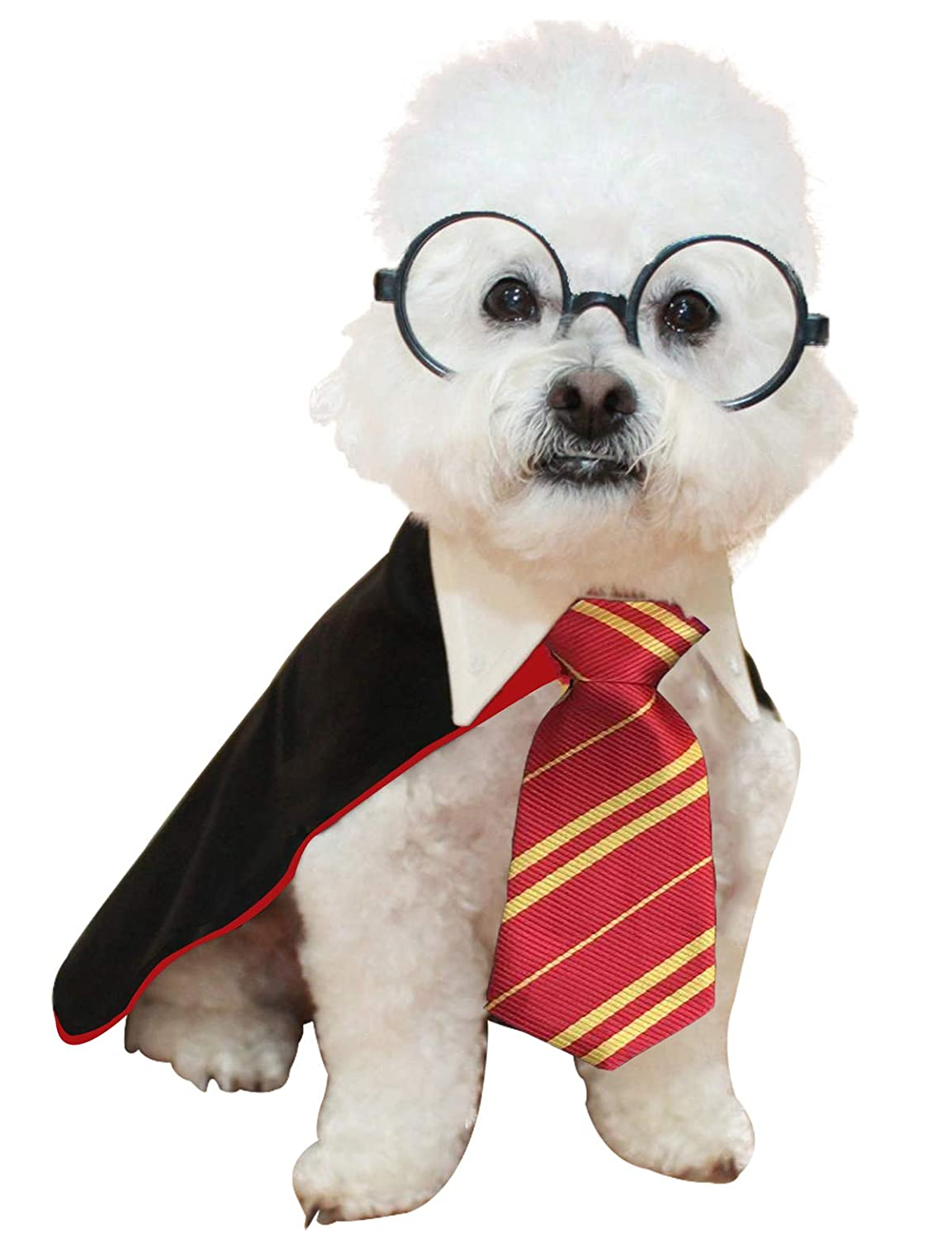 Impoosy Halloween Pet Dog Shirt Puppy Cat Wizard Costume Cute Clothes for Small to Large Dogs Cats Outfits with Glasses