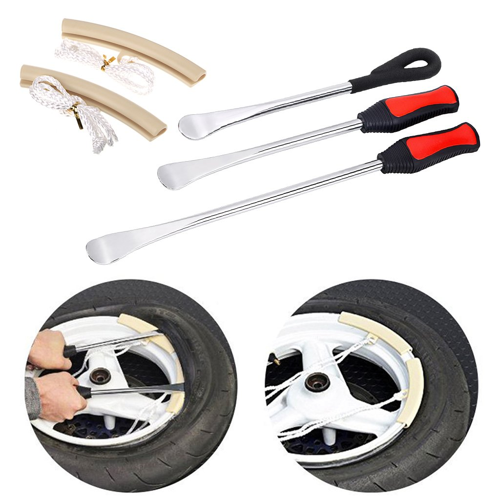 Sumnacon Tire Levers Spoon Set, Solid Heavy Duty Car Motorcycle Bike Tire Irons Tool Kit, 3 Pcs Different Tire Changing Spoon + 2 Pcs Rim Protector