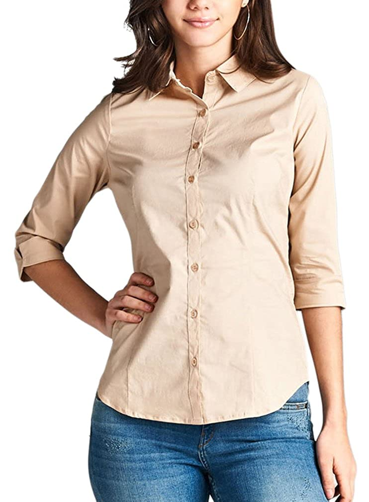 56dde6eb Feel comfort and elegance in this wonderful top. 3/4 Cuffed Sleeves.  Collared Neckline. Classic Fit. Button Down Closure. Perfect for almost any  occasion.