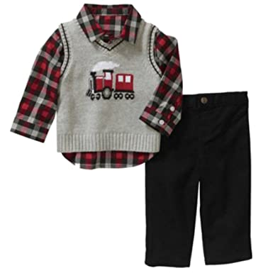 2078dee3e Image Unavailable. Image not available for. Color: George Infant Boys 3P  Holiday Outfit Gray Train Sweater Vest Plaid Shirt ...