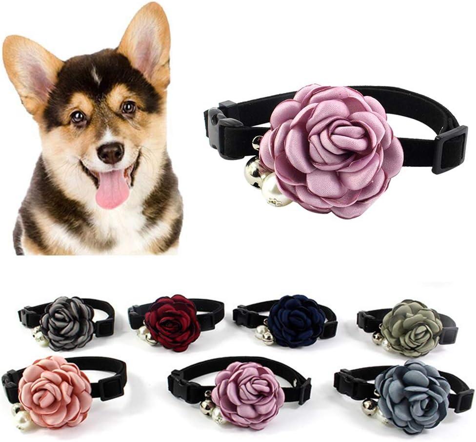 quanju cheer Pequeña Flor Hecha A Mano Fresca Collar para Mascotas Princesa Wind Bow Mascota Pajarita Gatos De Perlas Pajarita Cobre Campana Collar De Perro Piel Felpa Cuerda para Mascotas Púrpura XS