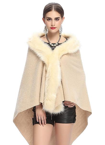 NiSeng Mujer capas abrigos invierno de pelo sintetico poncho de punto manga larga # Beige: Amazon.es: Ropa y accesorios