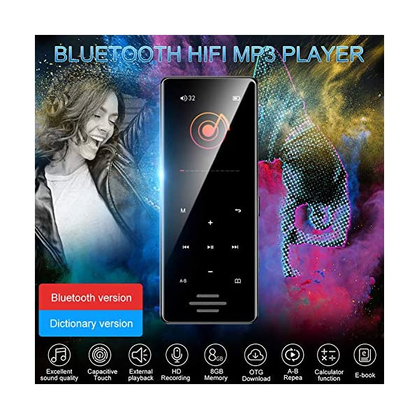 8G Bluetooth Mp3 Player 1.8 Inch Touch Screen Mp4 Capacitive Touch HiFi Lossless Sound Quality Built-in Speaker, Black 4