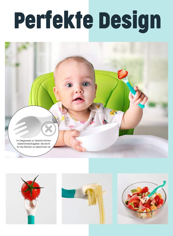 FUTURE FOUNDER Babyl/öffel Biegbarer Baby l/öffel F/ütterungs Trainingsl/öffel f/ür die Kinderern/ährung mit Rutschfestem Griff f/ür Funktion f/ür Kleinkinder(2 St/ück Blau)